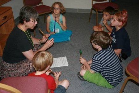 young children learning tinwhistle
